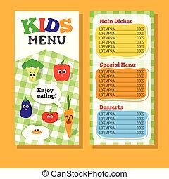 子供, レストランメニュー, 2, デザイン, 野菜, ページ