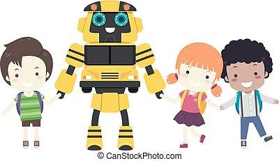 子供, ロボット, バス, 学校, イラスト
