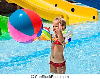 子供, 上に, 水スライド, ∥において∥, aquapark.