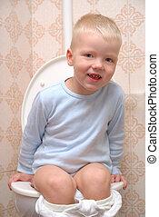 子供, 上に, toilette