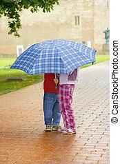 子供, 下に, ∥, 傘