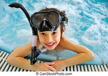 子供, 中に, プール, ∥で∥, ダイビング装置