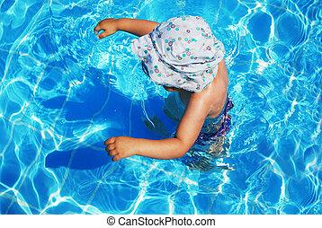 子供, 中に, プール