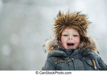 子供, 中に, 冬の 帽子