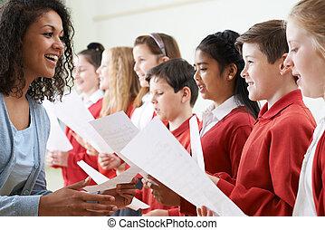 子供, 中に, 学校聖歌隊, ある, encouraged, によって, 教師