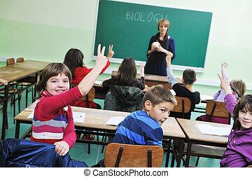 子供, 中に, 学校