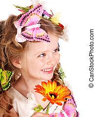 子供, 中に, 春, ヘアスタイル, そして, butterfly.
