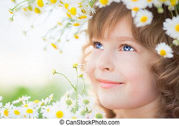 子供, 中に, 春