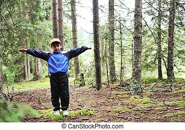 子供, 中に, 森林