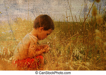 子供, 中に, 自然