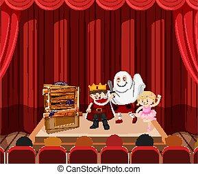 子供, 主題, ハロウィーン, ステージ