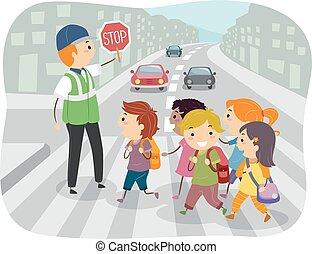 子供, 交通指導員, イラスト, stickman, 学校
