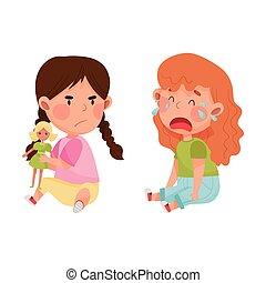 子供, 人形, agemate, 叫ぶこと, 敵対的である, 怒る, ベクトル, 離れて, しかめっ面をしなさい, 取得, イラスト, 彼女