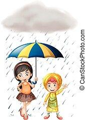 子供, 傘, 2, 雨, レインコート