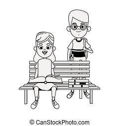 子供, 公園のベンチ, かわいい, 本