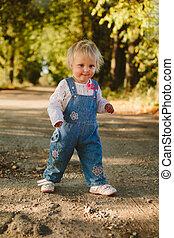 子供, 公園, 歩く