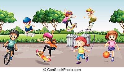 子供, 公園, 遊び, スポーツ