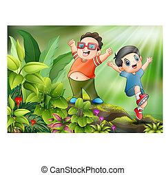 子供, 公園, 遊び, 幸せ