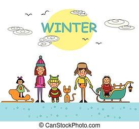 子供, 冬, 隔離された, イラスト, バックグラウンド。, ベクトル, 屋外で, 白, 遊び