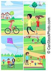 子供, 出費, ポスター, 公園, 活発に, 成人, 時間
