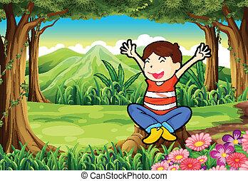 子供, 切り株, ジャングル, の上, 幸せ