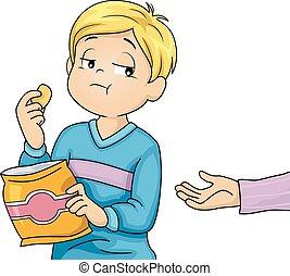 子供, 利己的, 男の子, 軽食