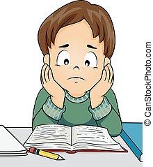 子供, 勉強しなさい, 強調された, 男の子, イラスト