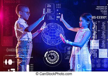 子供, 勉強, 間, 地球, 作成, 注意深い, ホログラム