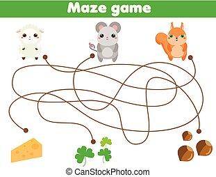 子供, 動物, 助け, game., ファインド, 食品。, 活動, 迷路, 子供