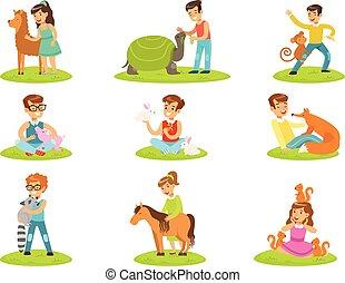 子供, 動物, 子供, コレクション, 動物園, イラスト, かわいがること, 楽しみ, 小さい, 漫画, 持つこと