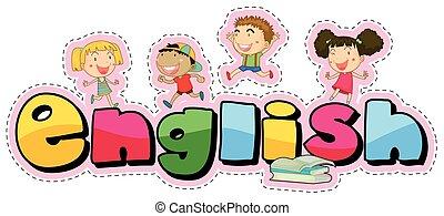 子供, 単語, ステッカー, デザイン, 英語, 幸せ