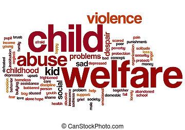 子供, 単語, 雲, 生活保護