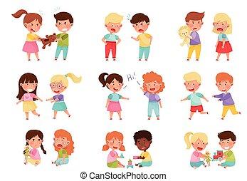 子供, 味方, 遊び, セット, 一緒に, 敵対的である, イラスト, ベクトル