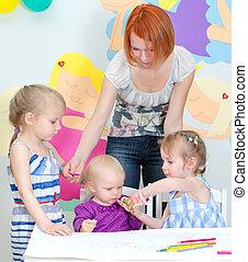子供, 図画, ∥で∥, 鉛筆, 中に, 教室