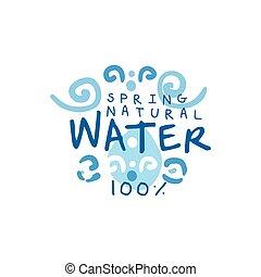 子供, 図画, の, 純粋な水, ∥ために∥, ロゴ, ∥あるいは∥, バッジ, ∥で∥, テキスト
