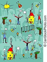 子供, 図画, の, a, 幸せな家族, 楽しみなさい, 屋外で