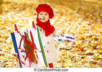 子供, 図画, 上に, イーゼル, 中に, 秋, park., 創造的, 子供, 開発