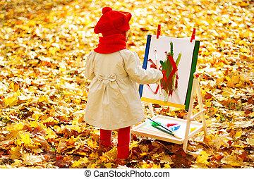 子供, 図画, 上に, イーゼル, 中に, 秋, park., 創造的, 子供, 開発, concept.