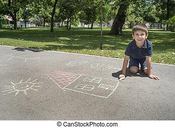子供, 図画, 太陽, そして, 家, 上に, アスファルト