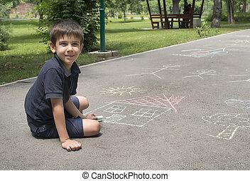 子供, 図画, 太陽, そして, 家, 上に, asphal