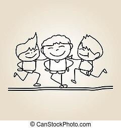 子供, 図画, 手, 幸せ
