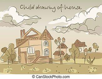 子供, 図画, 風景, 手
