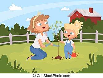 子供, 園芸, 木, eco, 植えつけ, ベクトル, 成人, 教育, 助け, 環境, 親, 背景, planting.