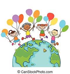 子供, 地球, 隔離された, ラウンド, 4, 跳躍, 背景, 風船, 漫画, 幸せ