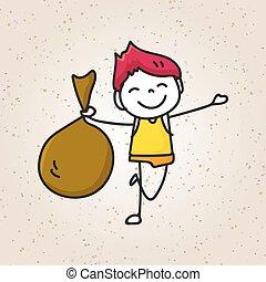 子供, 大きい手, 袋, 図画, 幸せ