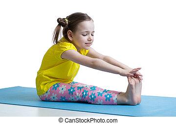 子供, 女の子, すること, フィットネス, 練習