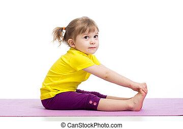 子供, 女の子, すること, 体操, 練習