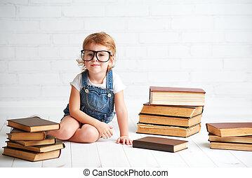 子供, 女の子, ∥で∥, ガラス, 読書, a, 本