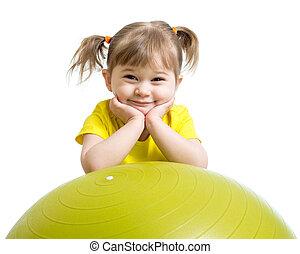 子供, 女の子, ∥で∥, 体操の球技, 隔離された