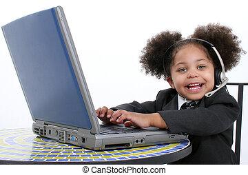 子供, 女の子, コンピュータ